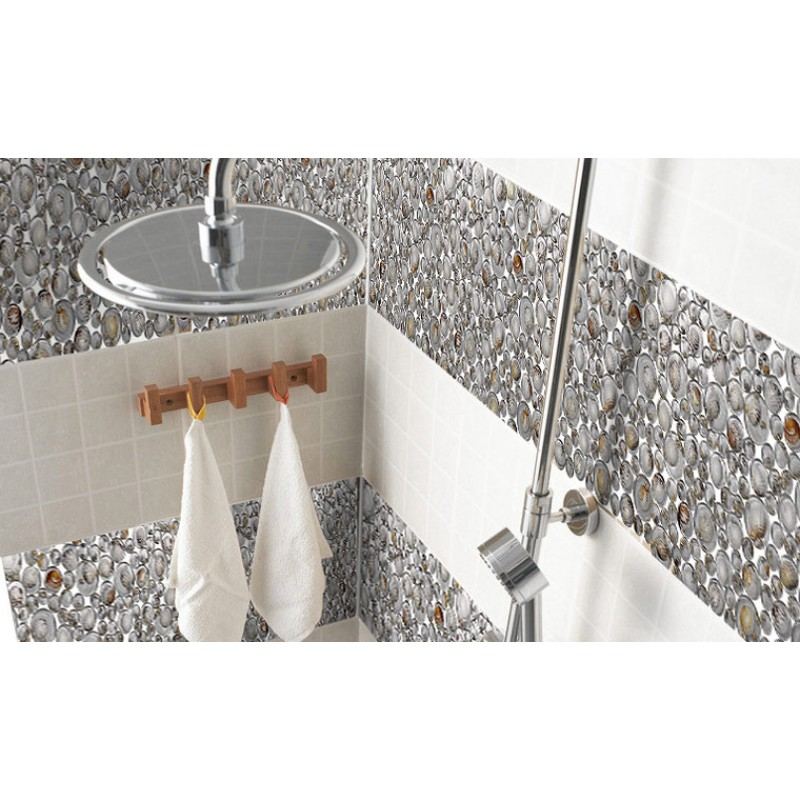 Penny Round Crystal Gl Tile Backsplash Resin Kitchen With Conch Designs Floor Bathroom Mosaic Gct619