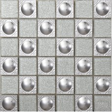 Metallic Kitchen Wall Tiles Metal mix Glass Mosaic Tile patterns grey Crystal Backsplash sheets Stainless Steel Glass Tile 627