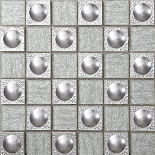 Sample Stainless Steel Metal Pattern Mosaic Tile Kitchen: Metallic Kitchen Wall Tiles Metal Mix Glass Mosaic Tile
