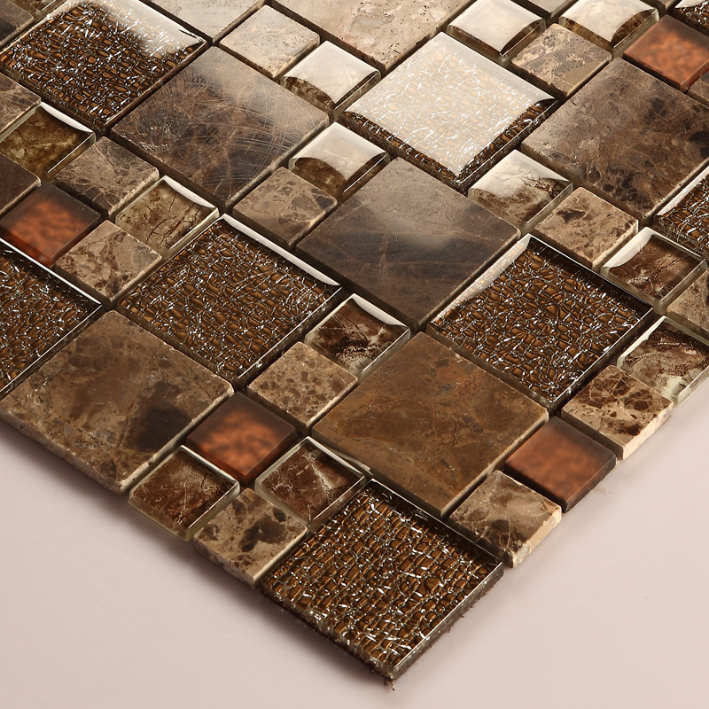 Sample Brown Glass Natural Stone Linear Mosaic Tile Wall: Brown Crystal Glass Mosaic Tile Natural Marble Tile Stone