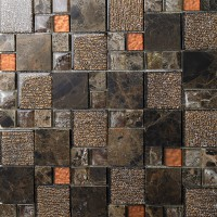 brown crystal glass mosaic tile natural marble tile stone tiles FREE SHIPPING wall backspalshes bedroom washroom kitchen decorative SBLT632