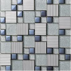 Glass mix Metal Mosaic Tile patterns Metallic Bathroom Wall Tiles Crystal Backsplash sheets Stainless Steel Glass designs 633