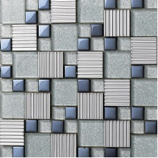 Glass mix Metal Mosaic Tile patterns Metallic Bathroom Wall Tiles Crystal Backsplash sheets Stainless Steel Glass designs 633