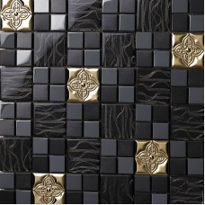 Glass mix Metal Mosaic Tile patterns Metallic Bathroom Wall Tiles black Crystal Backsplash sheets Stainless Steel designs 636
