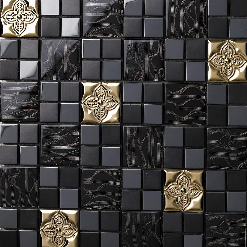 Glass mix metal mosaic tile patterns metallic bathroom wall tiles black crystal backsplash Bathroom tiles design catalog