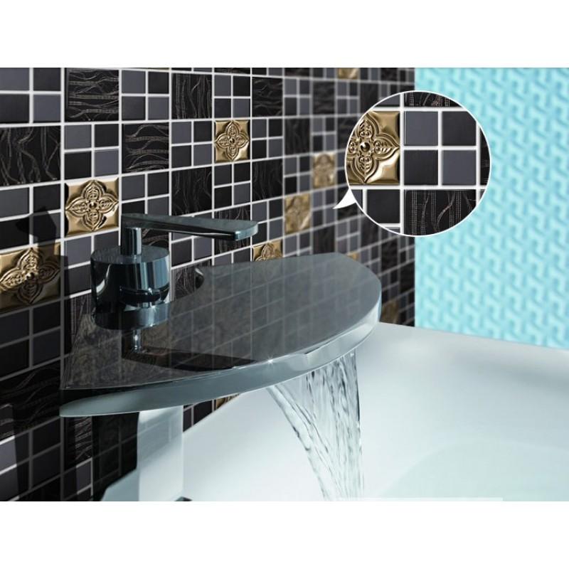 mix Metal Mosaic Tile patterns Metallic Bathroom Wall Tiles black ...