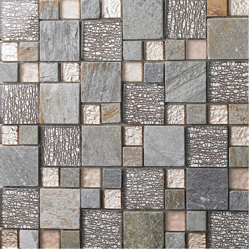 grey glass mosaic tile natural marble tile wall backsplashes tiles ...