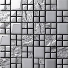 Glass Tile Backsplash silver Crystal Glass Mosaic Tiles Metal Coating Tile Kitchen Backsplash Wall Mosaics Bathroom Tiles 652