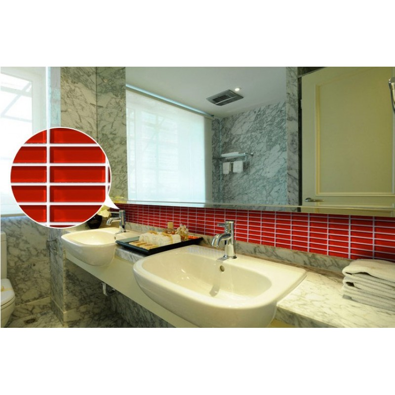 glass mosaic tile sheets red crystal glass tile idea