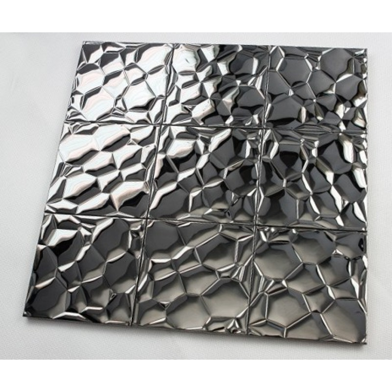 Metallic Mosaic Tile Stainless Steel Tile Patterns Kitchen Backsplash Wall Brick Tiles Metal
