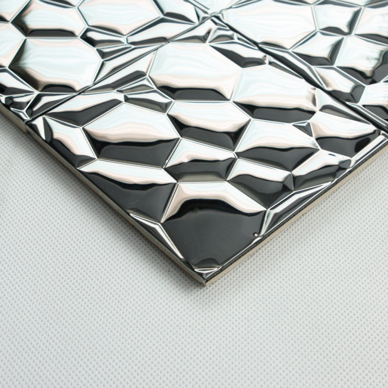 Metallic Mosaic Tile silver Stainless Steel Tile patterns Kitchen ...