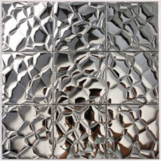 Metallic Mosaic Tile silver Stainless Steel Tile patterns Kitchen Backsplash Wall brick Tiles Metal mirror Mosaics designs 6707