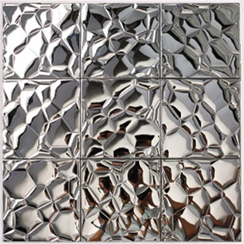 Metallic Mosaic Tile silver Stainless Steel Tile patterns Kitchen Backsplash Wall brick Tiles Metal mirror Mosaics designs 6707
