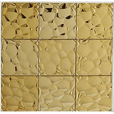 Gold stainless steel tile mosaic pebble patterns metal backsplash cheap square tile brick bathroom mirror frame wall decor SST6708