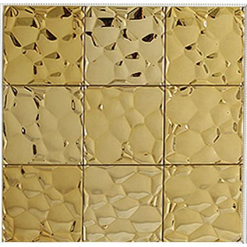 Gold stainless steel tile mosaic water-cube metal backsplash square brick bathroom wall tiles