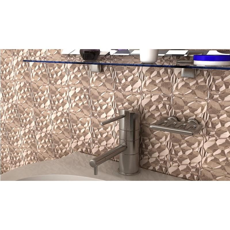 Metallic mosaic tile stainless steel tile patterns kitchen for Stainless steel tile backsplash reviews