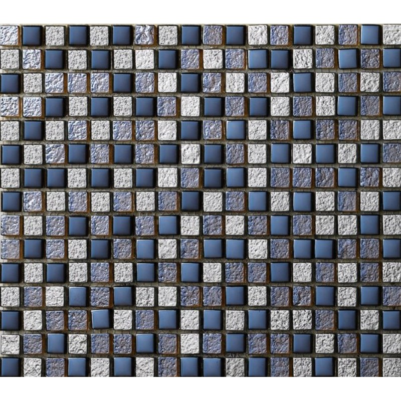 Gl Mosaic Tile Sheets Crystal Idea Kitchen Backsplash Wall Tiles Metal Coating Blue