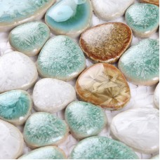 Cermaic pebble tiles heart-shaped glazed wall tile mosaic kitchen backsplashes swimming pool tile flooring PDF78