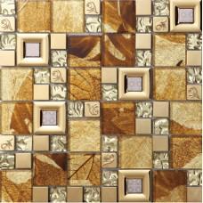 brown crystal glass mosaice tile coating metal tile 304 stainless steel FREE SHIPPING wall backspalshes bedroom washroom decor SBLT801