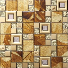 brown crystal glass mosaice tile coating metal tile 304 stainless steel FREE SHIPPING wall backspalshes bedroom washroom decor SBLT801