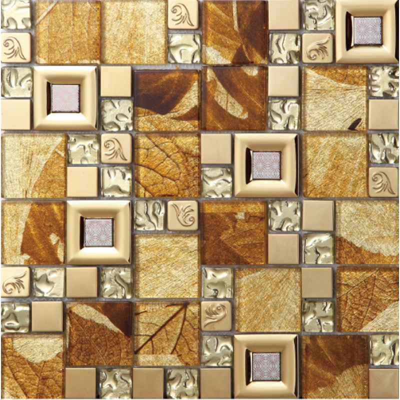 Brown Crystal Gl Mosaice Tile Coating Metal 304 Stainless Steel Free Shipping Wall Backspalshes Bedroom
