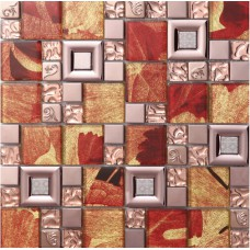 Red crystal glass mosaice tile coating metal tile 304 stainless steel FREE SHIPPING wall backspalshes bedroom washroom decor SBLT802
