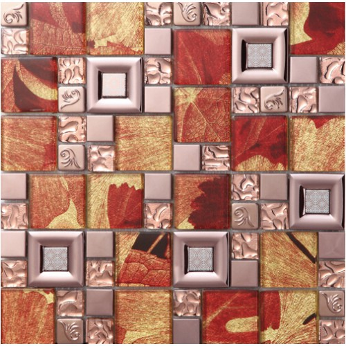 Red crystal glass mosaice tile coating metal tile 304 stainless steel FREE SHIPPING wall backspalshes bedroom washroom decor SBLT802