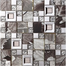 gray crystal glass mosaice tile coating metal tile silver 304 stainless steel wall backspalshes