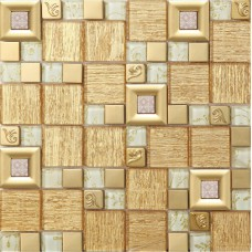 gold crystal glass mosaice tile coating metal tile gold 304 stainless steel FREE SHIPPING wall backspalshes bedroom washroom decor SBLT805