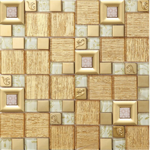 gold crystal glass mosaice tile coating metal tile gold 304 stainless steel FREE SHIPPING wall backspalshes bedroom washroom decor SBLT805