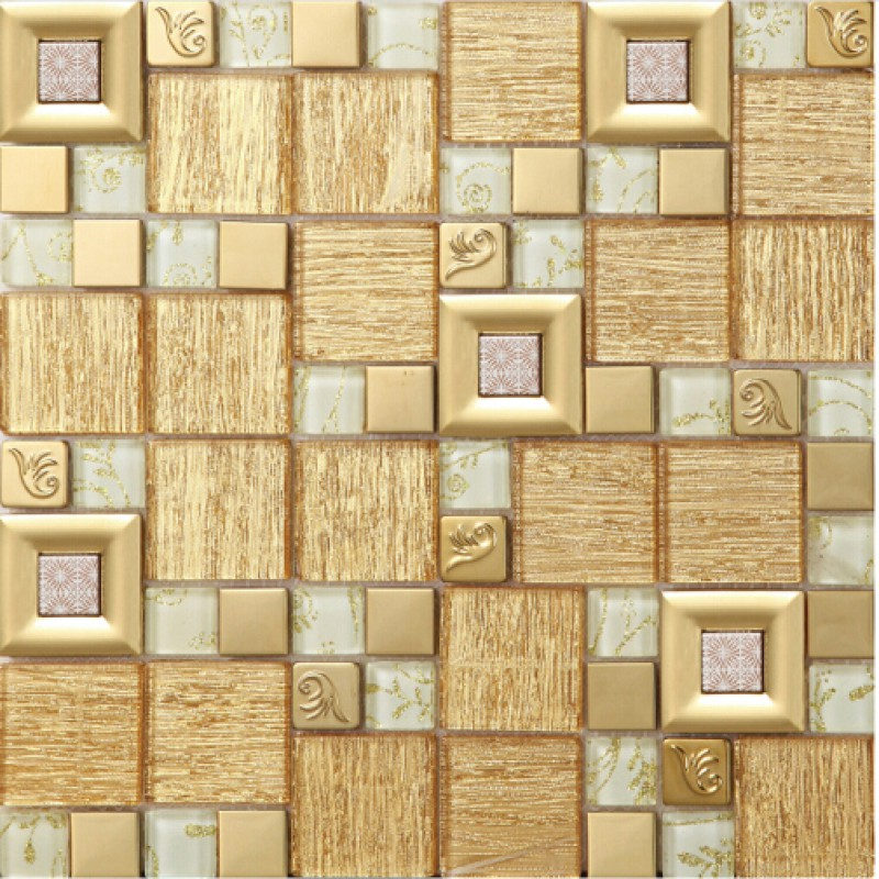 gold crystal glass mosaice tile coating metal tile gold 304 ...