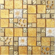 gold crystal glass mosaice tile coating metal tile gold 304 stainless steel tiles wall backspalshes bedroom washroom decor resin flower SBLT807