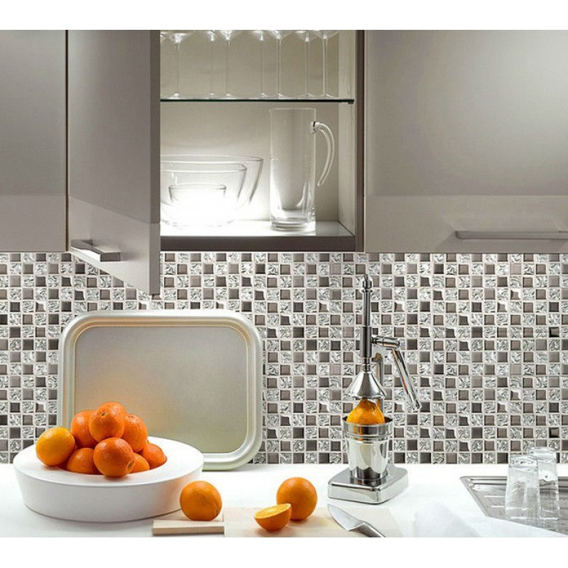 Silver glass tile backsplash ideas bathroom mosaic tiles cheap ...