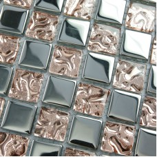 Crystal Glass Mosaic Sheets Wall Kitchen Backsplash Tile Bathroom Shower