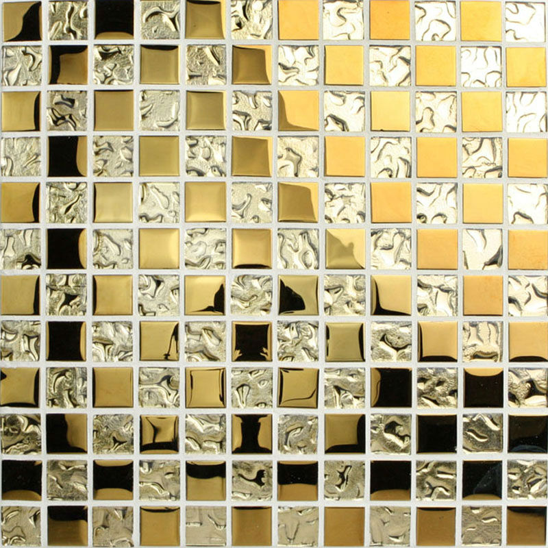 Crystal Glass Mosaic Tile Sheets Gold Bathroom Wall