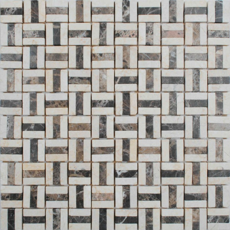 Tile Backsplash Kitchen Design Brown and Cream Blend Stone Mosaic ...