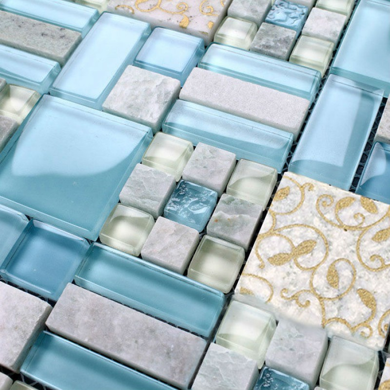 Crystal Mosaic Tile Backsplash Kitchen Design Colorful Glass Stone Blend Mosaic Marble Wall