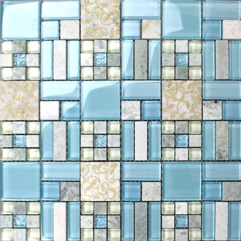 Crystal mosaic tile backsplash kitchen design colorful glass stone blend mosaic marble wall Design kitchen backsplash glass tiles
