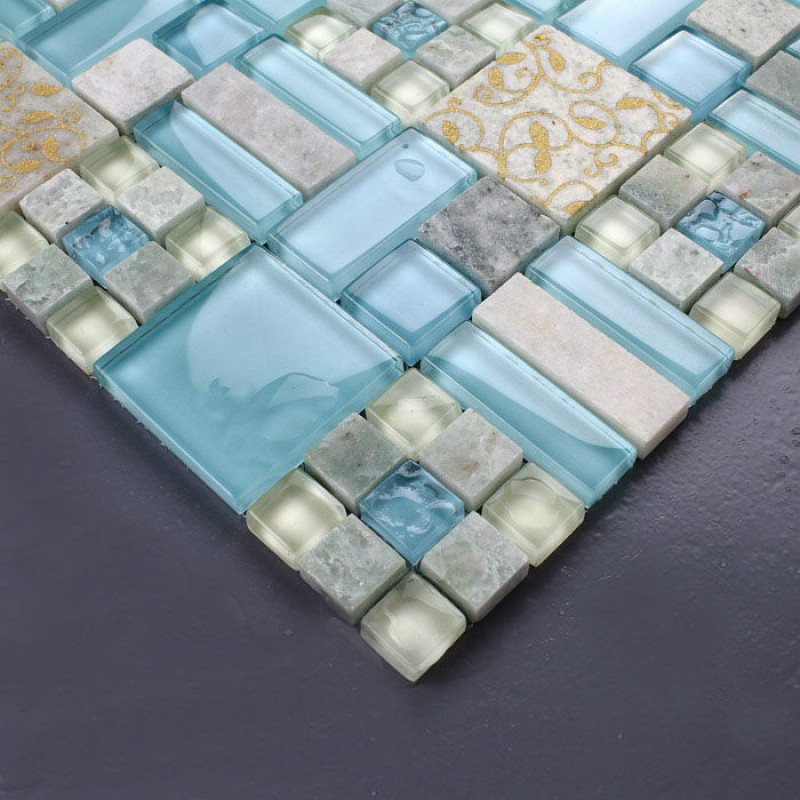 Crystal Mosaic Tile Backsplash Kitchen design colorful Glass Stone
