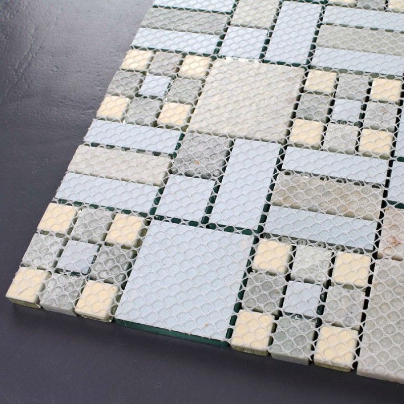 Beautiful Kitchen And Bathroom Mosaic: Crystal Mosaic Tile Backsplash Kitchen Design Colorful