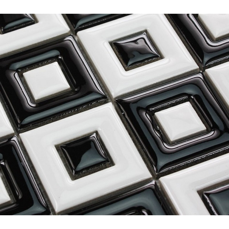 Black And White Porcelain Floor Tile Bathroom Grid Ceramic Mosaic Sheets