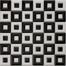 Black and white porcelain floor tile bathroom grid ceramic mosaic sheets glazed wall tiles kitchen backsplash wall decor GPT9003