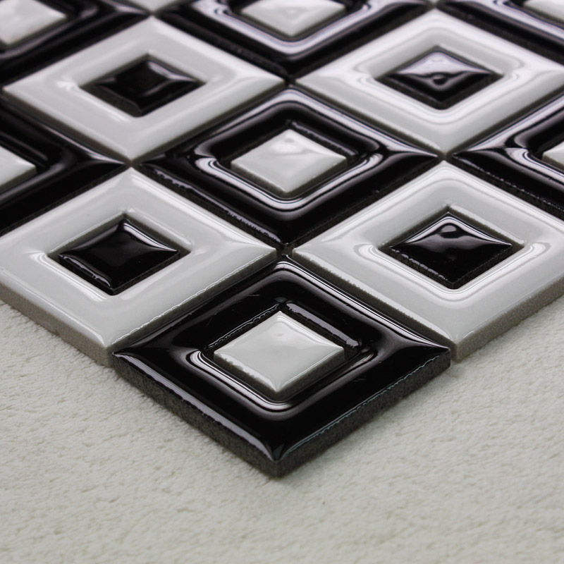 Black And White Porcelain Floor Tile Bathroom Grid Ceramic Mosaic