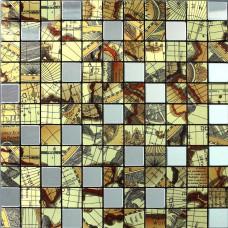 Metallic Tile Mosaic Adhesive Stickers Earth Patterns Interior Aluminum Wall Panels Metal Kitchen Backsplash Tiles Floor 9104