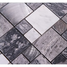 Stone Mosaic Tiles brushed Stainless Steel Backsplash kitchen Metal Wall art Marble Floor Tile Metallic Mosaic Wall Tile 9481