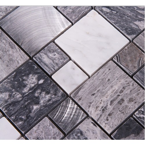 Stone Mosaic Tiles brushed Stainless Steel Backsplash kitchen Metal ...