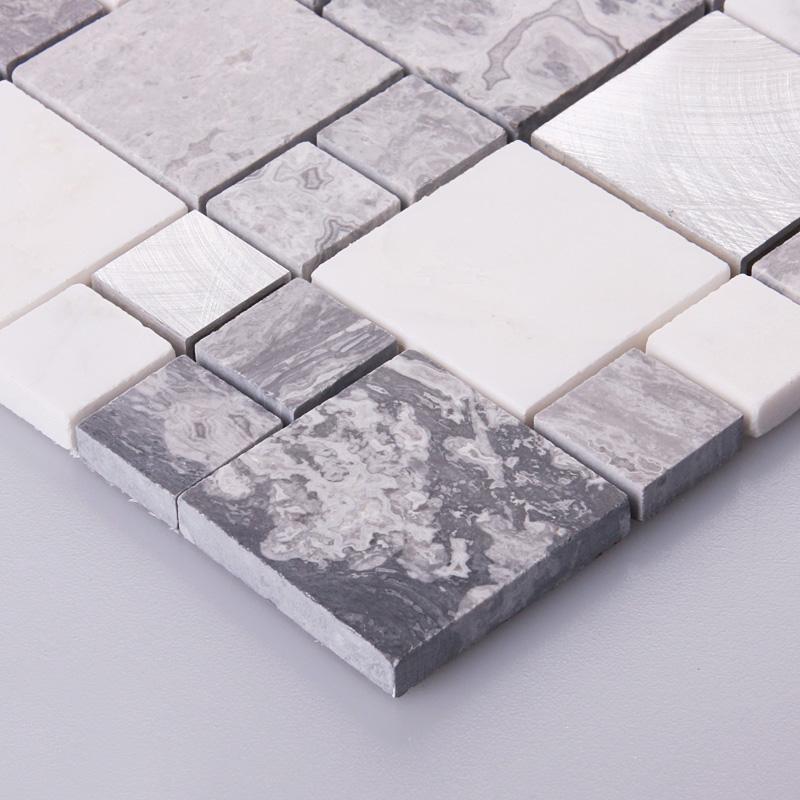 Stone Mosaic Tiles Brushed Stainless Steel Backsplash Kitchen Metal