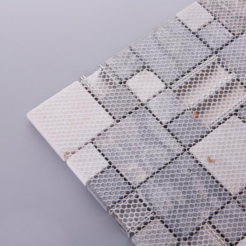 stone mosaic tiles brushed stainless steel backsplash. Black Bedroom Furniture Sets. Home Design Ideas