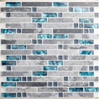 bule Glass and grey stone blend mosaic wall tile backsplash blue wave marble tile striped art mosaics bar hotel imterlocking decoration SGT9805