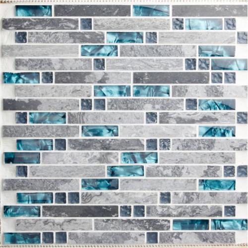 bule Glass and grey stone blend mosaic wall tile backsplash blue wave marble tile striped art mosaics bar hotel interlocking decoration SGT9805